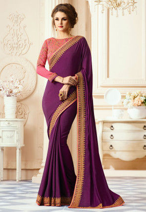 Plain Art Silk Saree in Wine