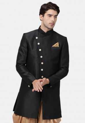 Plain Art Silk Sherwani in Black
