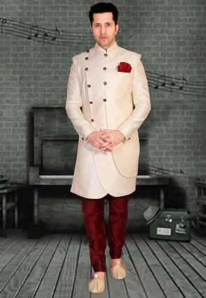 Plain Art Silk Sherwani in Cream