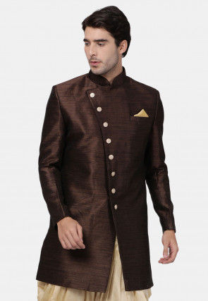 Plain Art Silk Sherwani in Dark Brown
