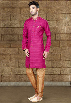 Plain Art Silk Sherwani in Fuchsia