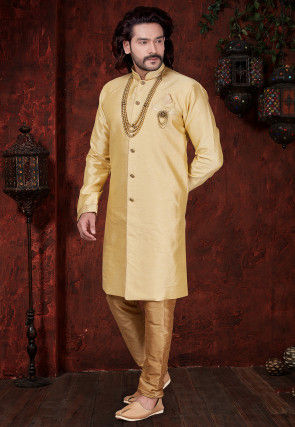 Plain Art Silk Sherwani in Light Beige