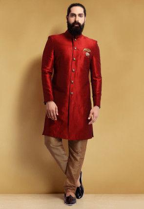 Plain Art Silk Sherwani in Maroon