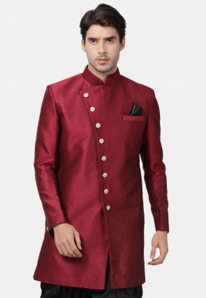 Plain Art Silk Sherwani in Maroon
