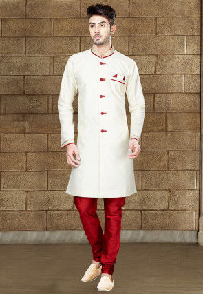 Plain Art Silk Sherwani in Off White
