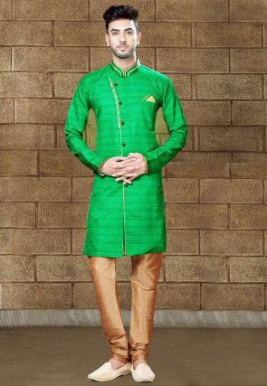 Plain Art Silk Sherwani in Sea Green