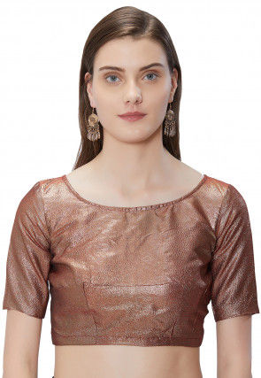 Plain Art Silk Shimmer Blouse in Copper
