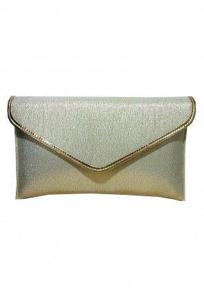 Plain Art Silk Shimmer Envelope Clutch Bag in Golden