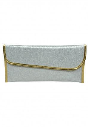 Plain Art Silk Shimmer Envelope Clutch Bag in Silver