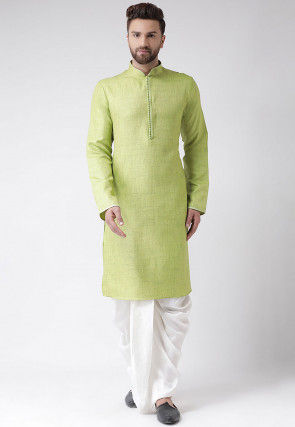 Plain Art Silk Slub Dhoti Kurta in Light Green