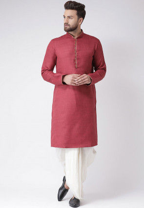 Plain Art Silk Slub Dhoti Kurta in Maroon