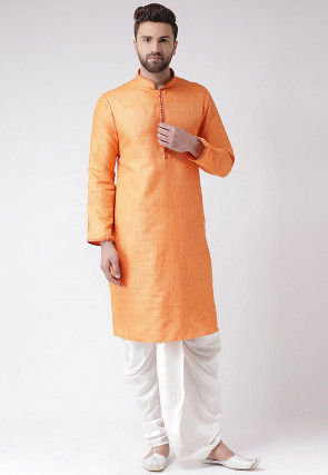 Plain Art Silk Slub Dhoti Kurta in Orange