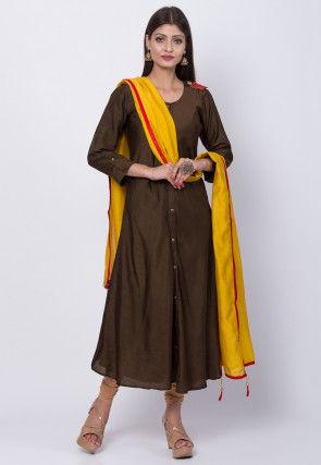 Plain Art Silk A Line Suit in Dark Brown