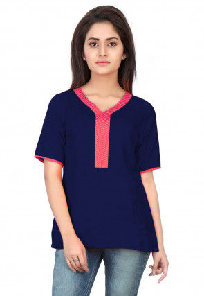 Plain Art Silk Top in Navy Blue