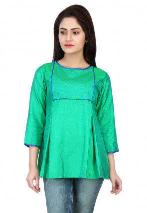 Plain Shantoon Top in Teal Green