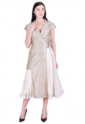 Plain Art Silk Wrap Around Dress in Fawn