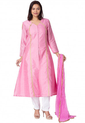 Plain Bhagalpuri Silk A Line Suit in Pink