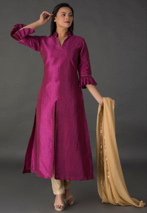 Plain Bhagalpuri Silk Front Slit Pakistani Suit in Magenta