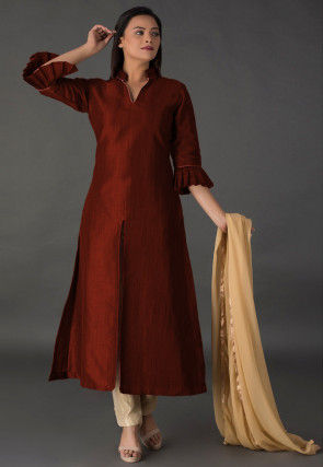 Plain Bhagalpuri Silk Front Slit Pakistani Suit in Maroon