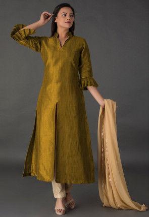 Plain Bhagalpuri Silk Front Slit Pakistani Suit in Olive Green