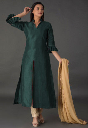 Plain Bhagalpuri Silk Front Slit Pakistani Suit in Teal Green