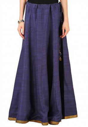 Plain Bhagalpuri Silk Skirt in Navy Blue