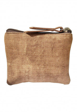 Plain Canvas Coin Pouch in Beige