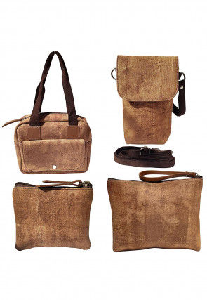Plain Canvas Handbag in Beige