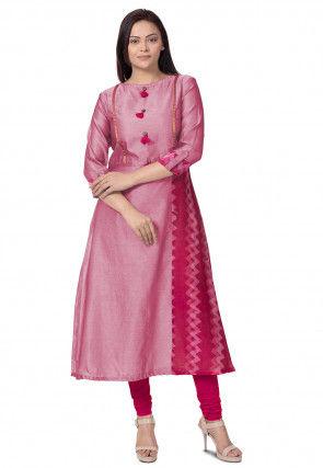 Plain Chanderi Cotton A Line Kurta in Pink