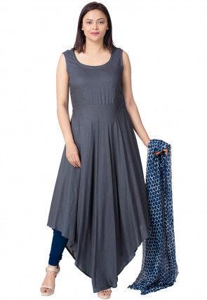 Plain Rayon Asymmetric Anarkali Suit in Blue