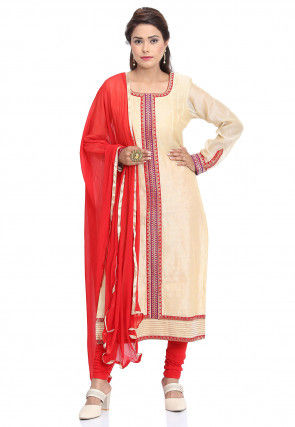Plain Chanderi Cotton Straight Suit in Beige