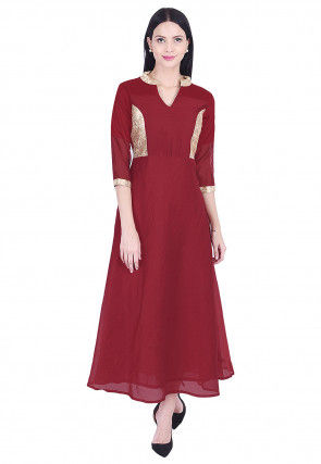 Plain Chanderi Silk A Line Kurta in Maroon