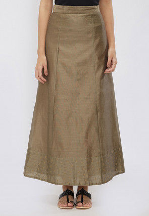 Plain Chanderi Silk A Line Skirt in Dark Beige