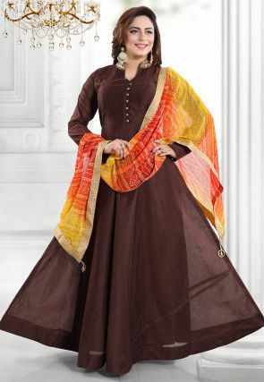 Plain Chanderi Silk Abaya Style Suit in Brown