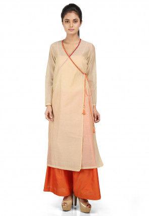 Plain Chanderi Silk Angrakha Style Kurta Set in Beige