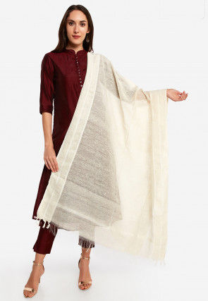Plain Chanderi Silk Dupatta in Cream
