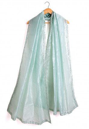 Plain Chanderi Silk Dupatta in Sky Blue