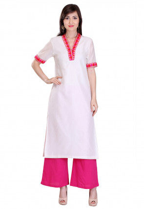 Plain Chanderi Silk Kurta Set in Off White