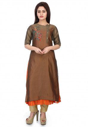Plain Chanderi Silk Layered Kurta Set in Copper