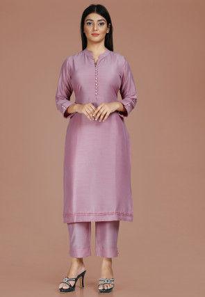 Plain Chanderi Silk Straight Kurta Set in Light Purple