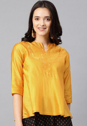 Plain Chanderi Silk Top in Yellow