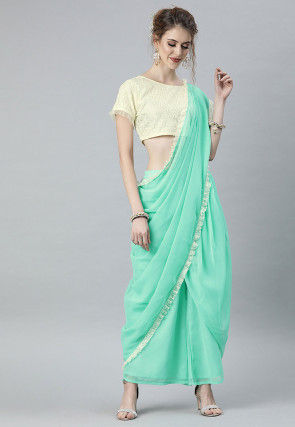 Plain Chantelle Net Crop Top with Palazzo attachable dupatta in Sea Green