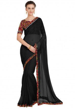 Plain  Chiffon Saree in Black