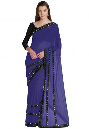 Plain Chiffon Saree in Indigo Blue