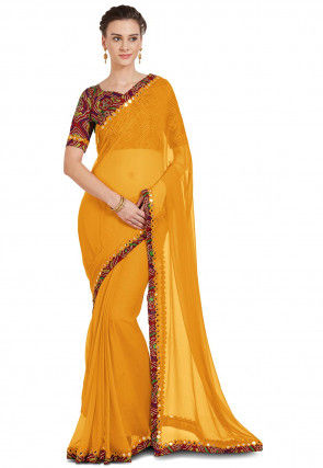 Plain Chiffon Saree in Mustard