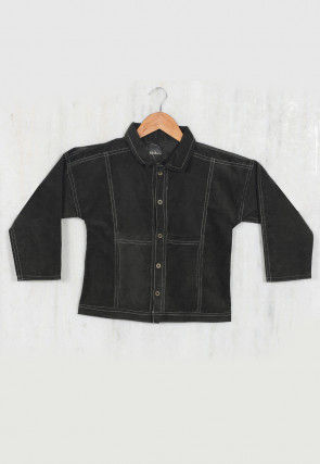 Plain Coduroy Kids Jacket in Black