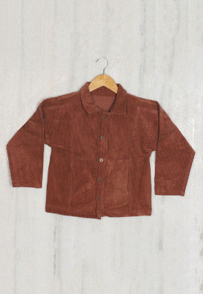 Plain Coduroy Kids Jacket in Brown