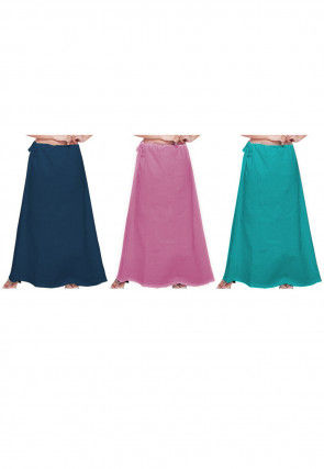 Plain Combo of Cotton Petticoats in Blue and Pink