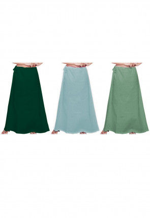Plain Combo of Cotton Petticoats in Green and Blue