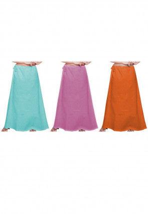 Plain Combo of Cotton Petticoats in Multicolor